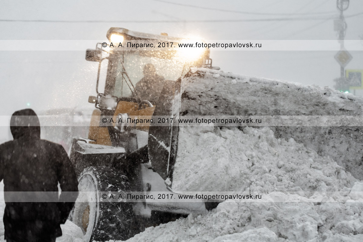 Фотография: снегоуборочная техника — колесный погрузчик осуществляет снегоочистку автодороги в городе Петропавловске-Камчатском во время метели (пурги)