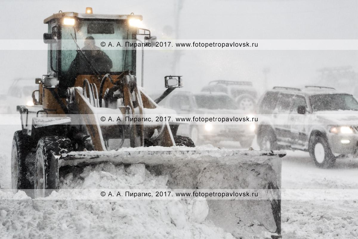Фотография: снегоуборочная техника — колесный погрузчик расчищает от снега автодорогу во время пурги (метели) в городе Петропавловске-Камчатском