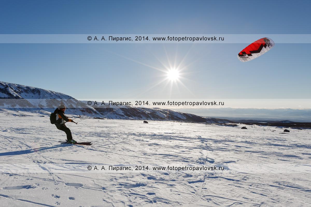 Фотография: зимний кайтинг (сноукайтинг, snowkiting) в лучах заходящего солнца на Камчатке