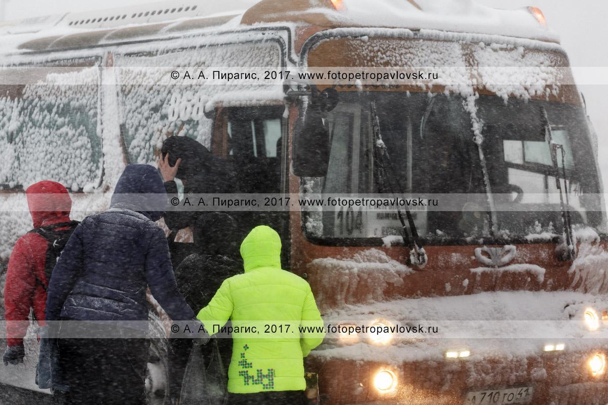 Фотография: снежный циклон в городе Петропавловске-Камчатском, высадка / посадка пассажиров в междугородний автобус маршрута №104 во время метели (пурги)