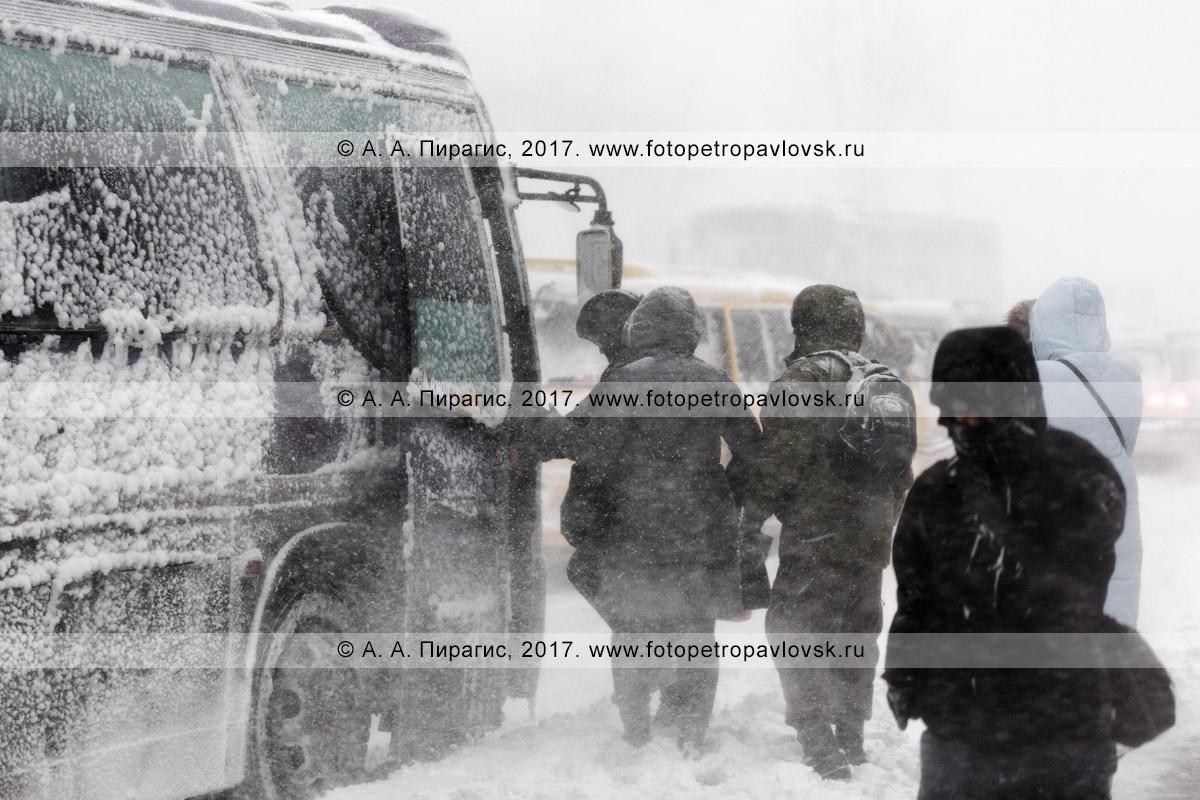 Фотография: зимнее ненастье в городе Петропавловске-Камчатском, посадка пассажиров в городской общественный транспорт (автобус) во время пурги (метели)