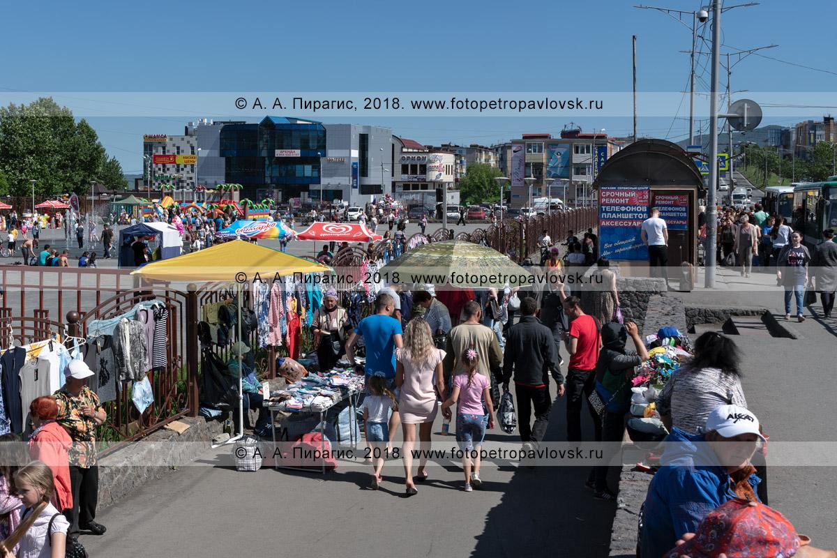 Фотография: незаконная уличная торговля товарами народного потребления в неустановленном (несанкционированном) для этого месте: автобусной остановке, тротуаре, пешеходной дорожке