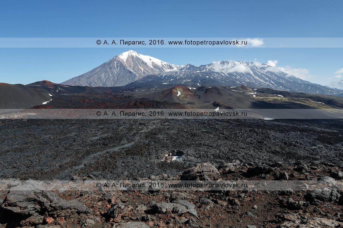 Фотография: вулкан Острый Толбачик и вулкан Плоский Толбачик. Толбачинский вулканический массив, Ключевская группа вулканов, Камчатский край