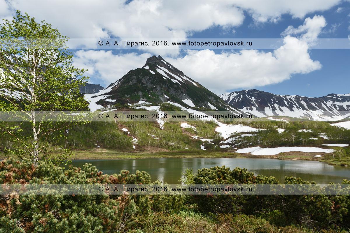 Фотография: живописный камчатский горный пейзаж — гора Летняя Поперечная и озеро Тахколоч в горном массиве Вачкажец. Полуостров Камчатка