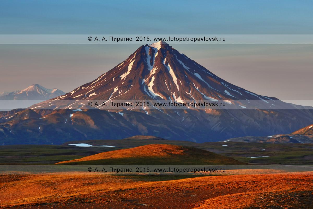 Фотография: живописный вечерний пейзаж Камчатки — красивый вид на Вилючинский вулкан на закате солнца. Камчатский край