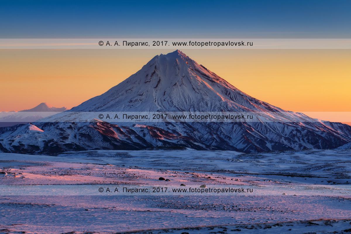 Фотография: полуостров Камчатка, зимний вид на рассвете на Вилючинский вулкан (Vilyuchinsky Volcano)