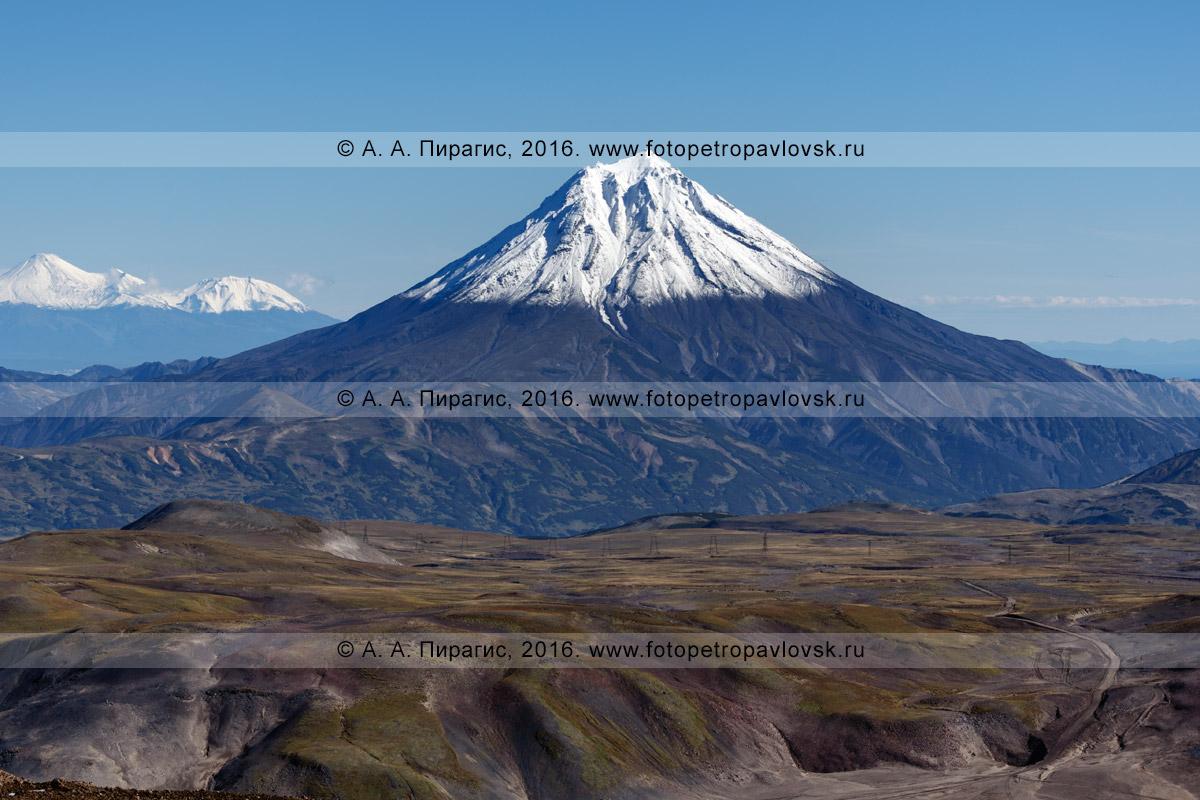 Фотография: конус вулкана Вилючинская сопка на полуострове Камчатка, осенний вулканический ландшафт Камчатки