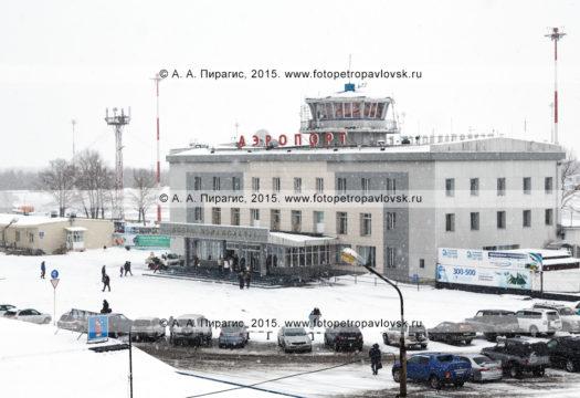 Фотография: зимний вид на аэровокзал аэропорта Петропавловск-Камчатский (аэропорт Елизово) и привокзальную площадь во время снегопада. Камчатский край