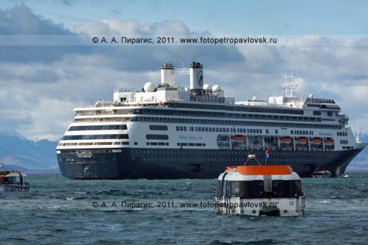 """Фотографии голландского круизного лайнера """"Амстердам"""" на рейде в Авачинской губе на Камчатке"""