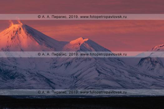 Панорамная фотография вулкана Авачинская сопка и вулкана Козельская сопка на полуострове Камчатка, вечерний зимний пейзаж на закате солнца