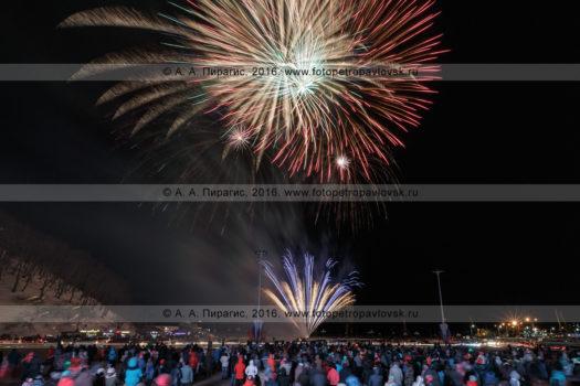 Фотография: 23 февраля — День защитника Отечества, праздничный фейерверк (салют) в Петропавловске-Камчатском. Камчатский край