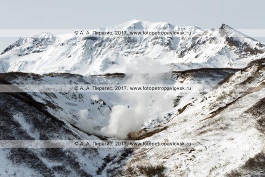 Фотография: зимний вид на Дачные термальные минеральные источники. Полуостров Камчатка, Мутновское геотермальное месторождение
