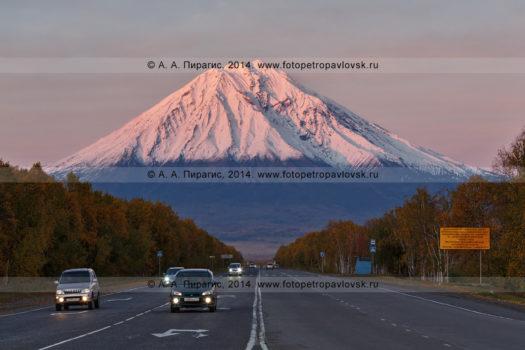 Фотография Корякского вулкана на закате, автодороги Петропавловск-Камчатский — Елизово