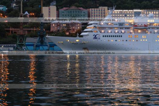 Ночной вид на круизный лайнер Pacific Venus в порту Петропавловска-Камчатского