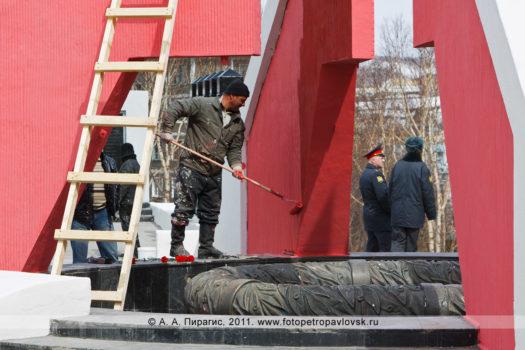 Фоторепортаж: благоустройство парка Победы и мемориала памяти камчатцев, погибших во Второй мировой войне