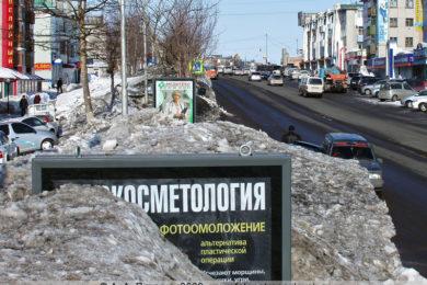 Щитовая реклама на проспекте 50 лет Октября в Петропавловске-Камчатском