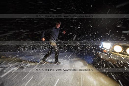 Фотография: конец сентября, пурга на 192-м километре автотрассы Петропавловск-Камчатский — Усть-Камчатск. Камчатский край