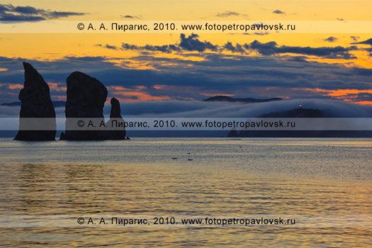 """Фотография (панорама): """"Скалы Три Брата"""" в Авачинской губе (бухте) на закате солнца"""